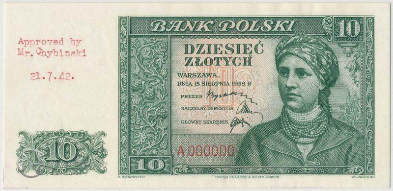 Awers banknotu 10 złotych 1939 w odmiennej kolorystyce oraz adnotacją akceptacyjną na marginesie