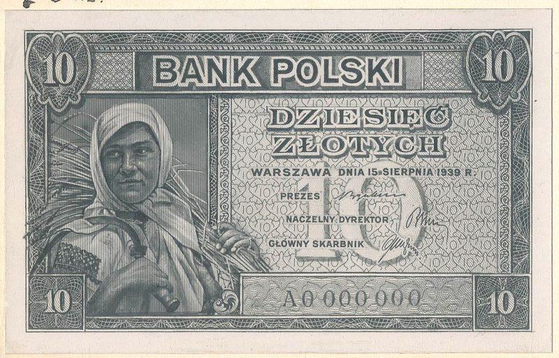 Awers banknotu 10 złotych 1939 w wersji zupełnie odmiennej od zatwierdzonej