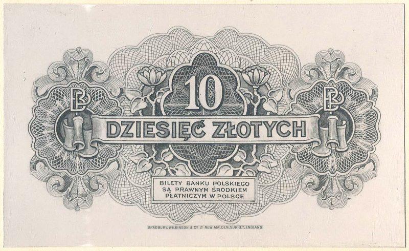 Rewers banknotu 10 złotych 1939 w wersji zupełnie odmiennej od zatwierdzonej