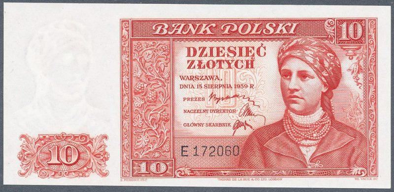 Awers zatwierdzonej wersji banknotu 10 złotych 1939