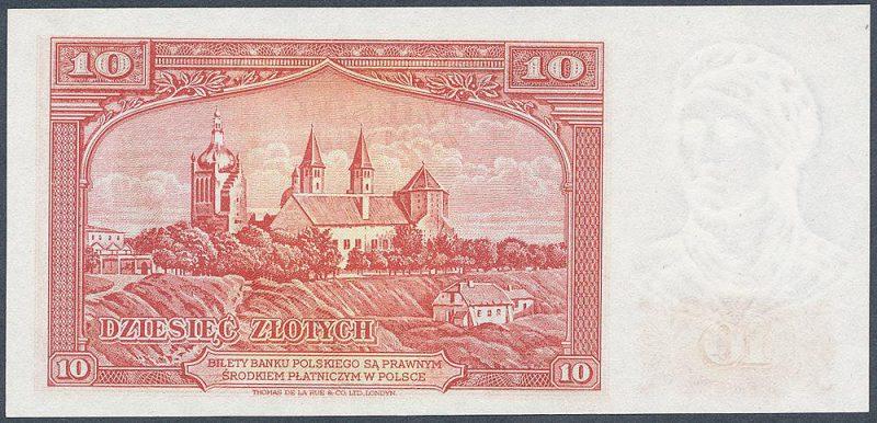 Rewers zatwierdzonej wersji banknotu 10 złotych 1939