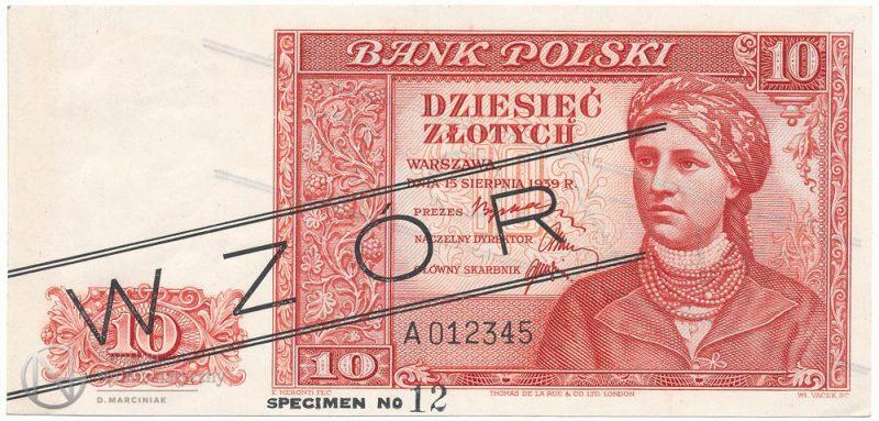 Awers banknotu 10 złotych 1939 w wersji zgodnej z finalną ale z pieczątką WZÓR i adnotacją na dolnym marginesie