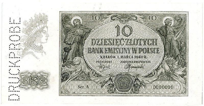 Fotokopia awersu banknotu 10 złotych 1940