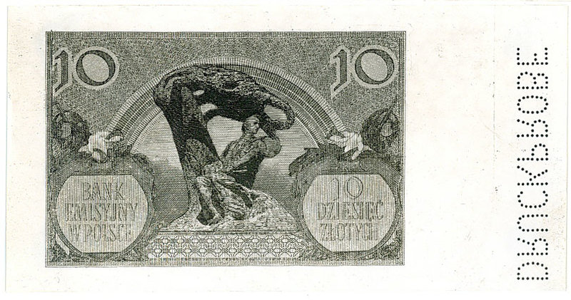 Fotokopia rewersu banknotu 10 złotych 1940