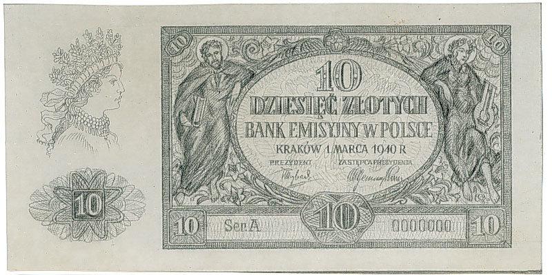Odmienna szata graficzna banknotu 10 złotych 1940