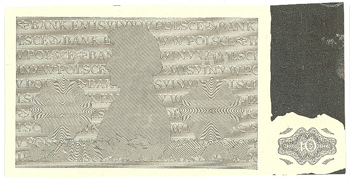 Czarnodruk poddruku rewersu druku próbnego banknotu 10 złotych 1941