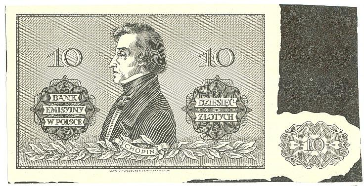 Czarnodruk warstwy głównej rewersu druku próbnego banknotu 10 złotych 1941