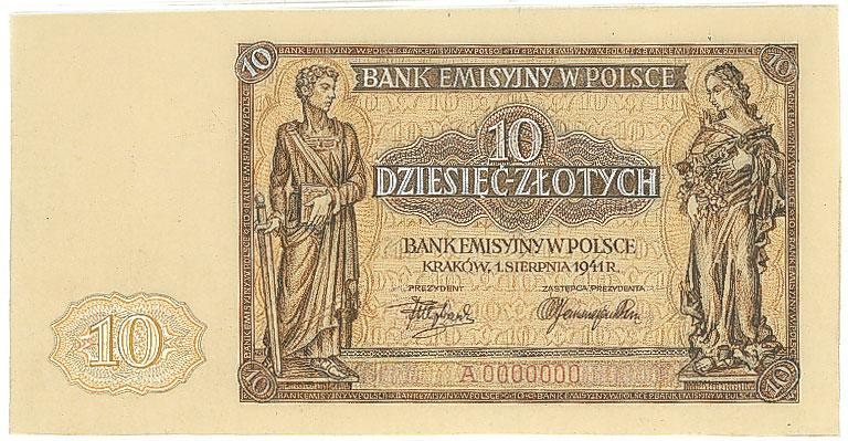 Awers druku próbnego banknotu 10 złotych 1941