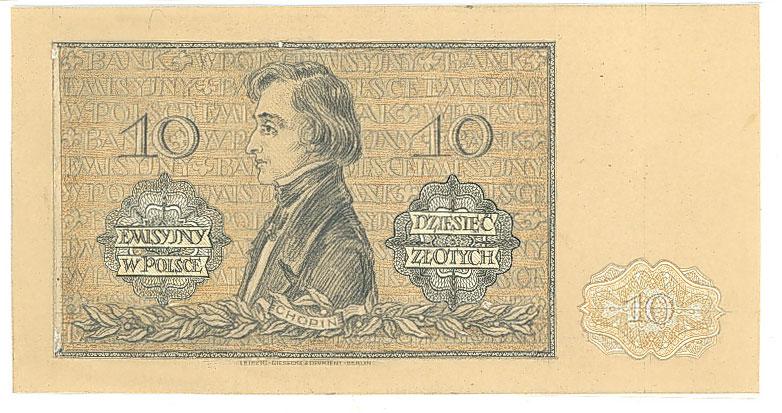 Rewers druku próbnego banknotu 10 złotych 1941