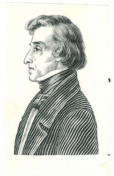Szkic postaci Fryderyka Chopina z rewersu banknotu 10 złotych 1941