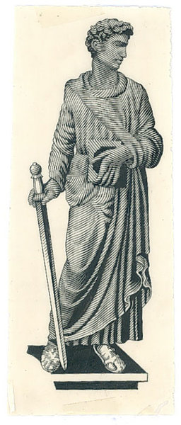 Szkic postaci z mieczem z awersu banknotu 10 złotych 1941