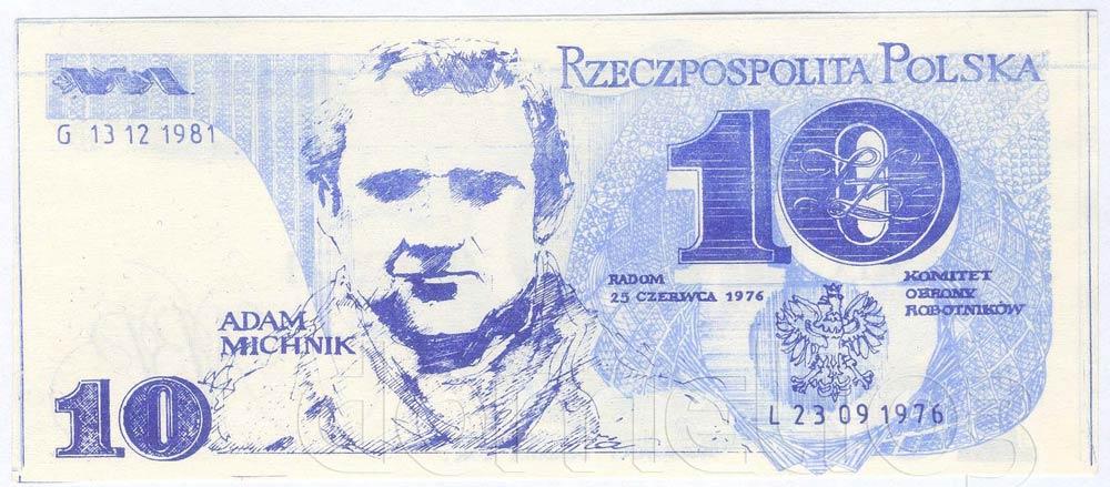 Awers 10 złotych 1976 z Adamem Michnikiem