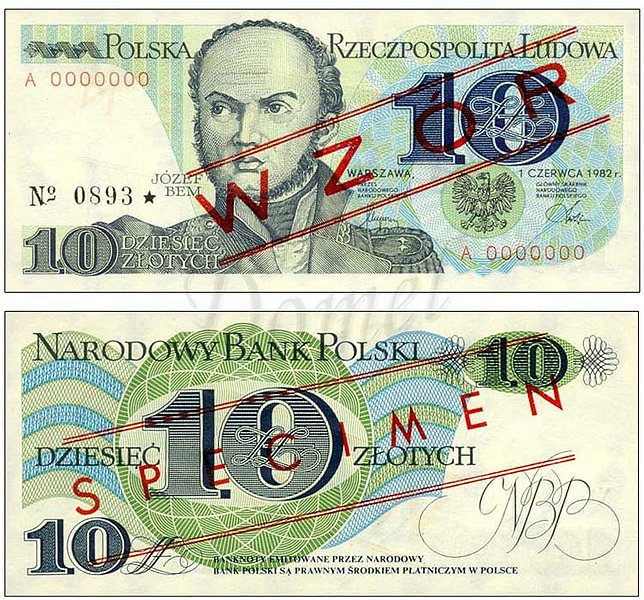 Wzór 10 złotych 1982 z Józefem Bemem