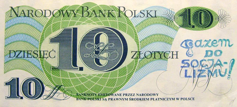 10 złotych 1982 ze stemplem gazem do socjalizmu (łezka)