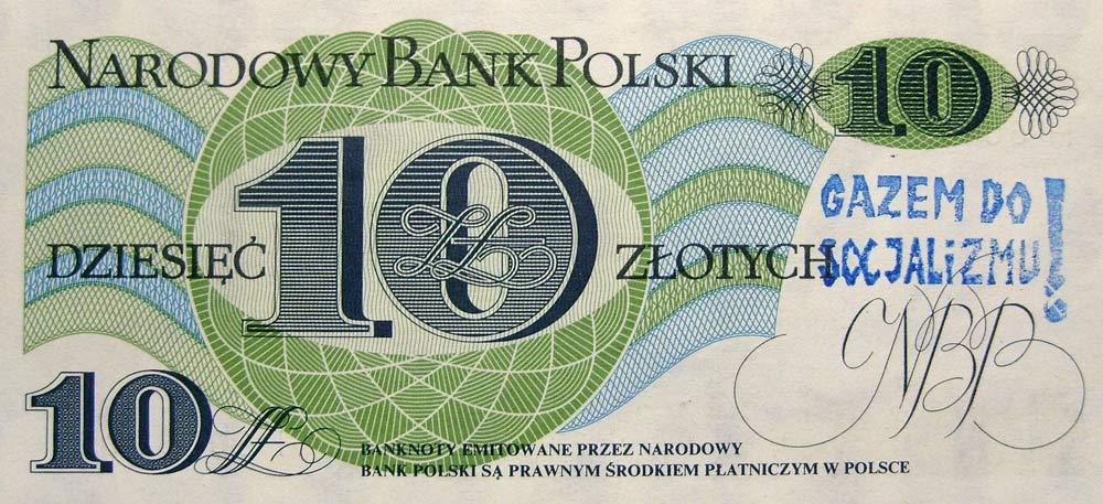 10 złotych 1982 ze stemplem gazem do socjalizmu