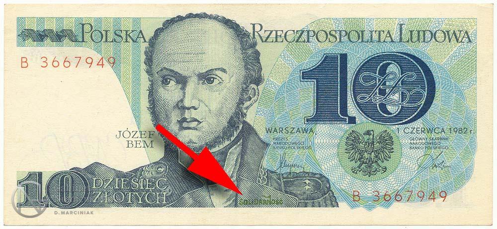 10 złotych 1982 ze stemplem Solidarność