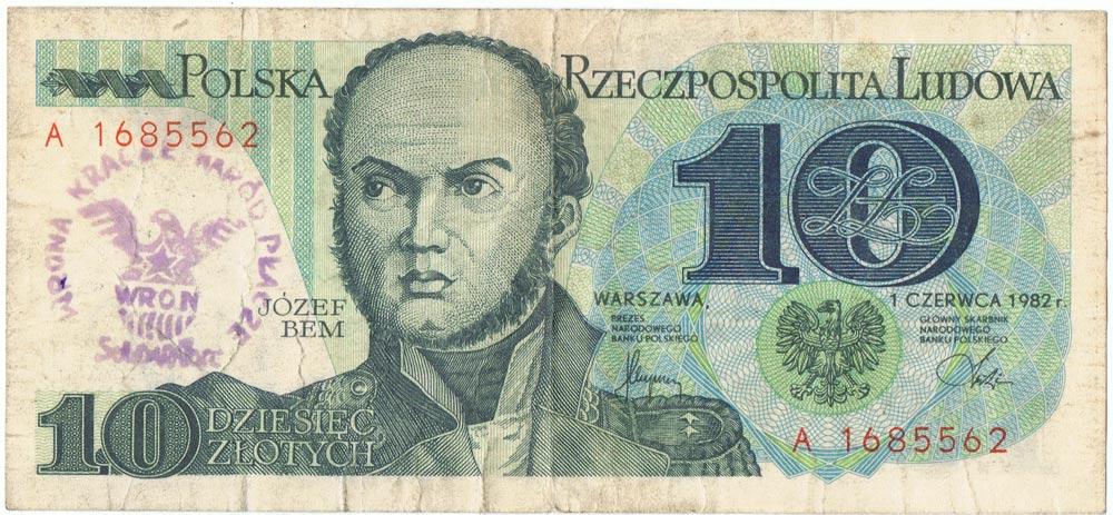 10 złotych 1982 ze stemplem wrona kracze naród płacze