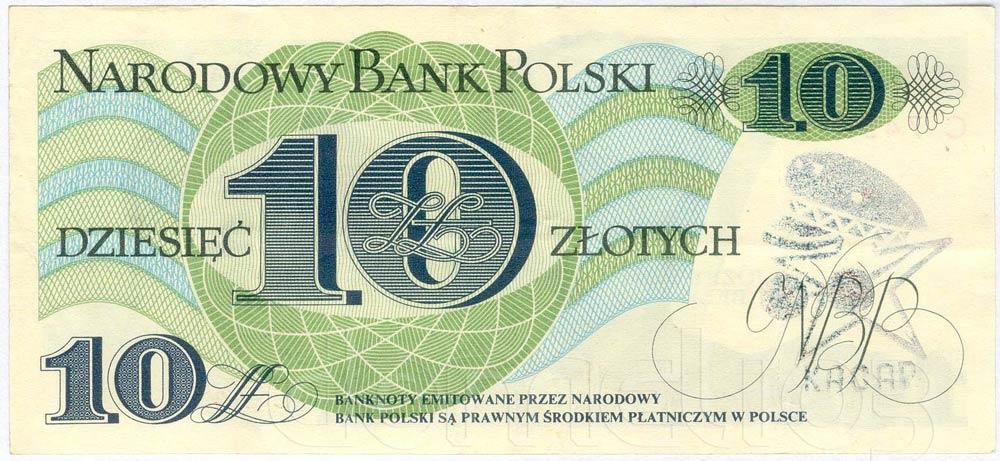 Banknot PRL 10 złotych ze stemplem KACAP w lewo