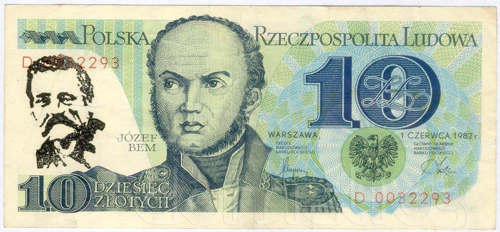 Banknot PRL 10 złotych ze stemplem Lech Wałęsa czarny