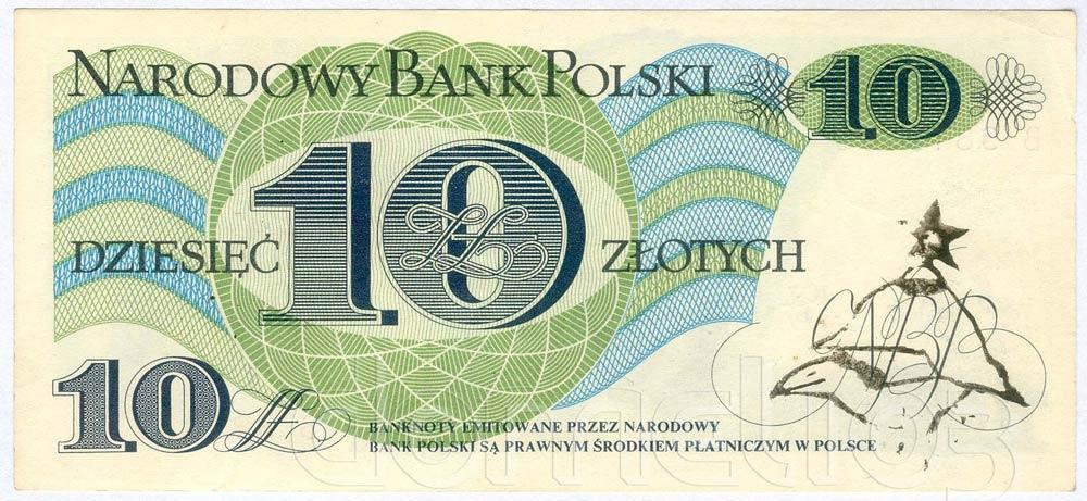 Banknot PRL 10 złotych ze stemplem wrona w hełmie