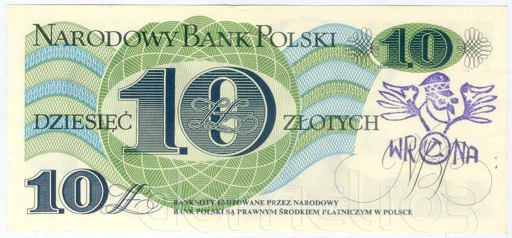 Banknot PRL 10 złotych ze stemplem wrona fioletowy