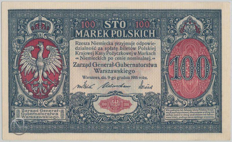 Awers banknotu 100 marek polskich 1916 Generał