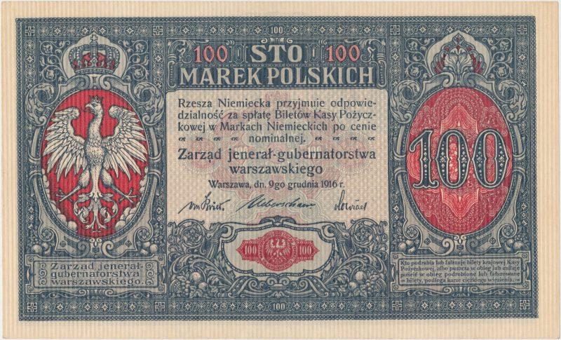 100 marek polskich 1916 Jenerał z numeracją 7-cyfrową