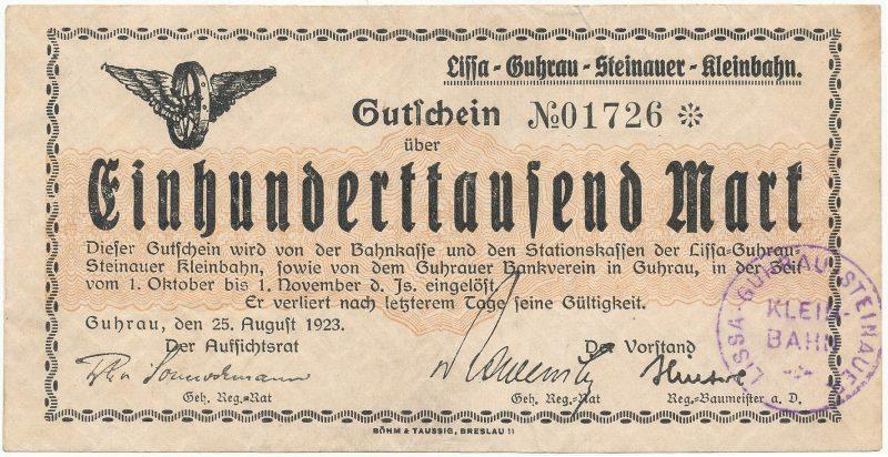 Notgeld 100 tysięcy marek 1923 kasy stacji kolei wąskotorowej w Górze