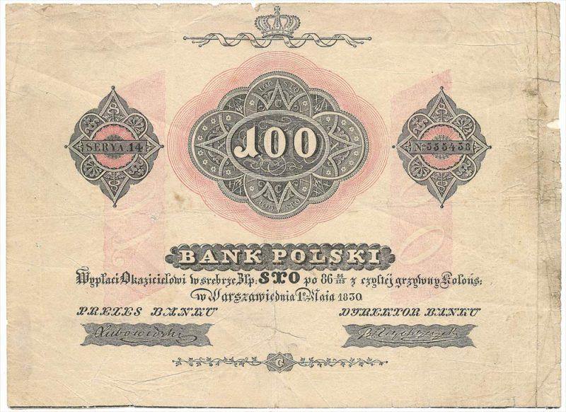 Awers banknotu 100 złotych 1830