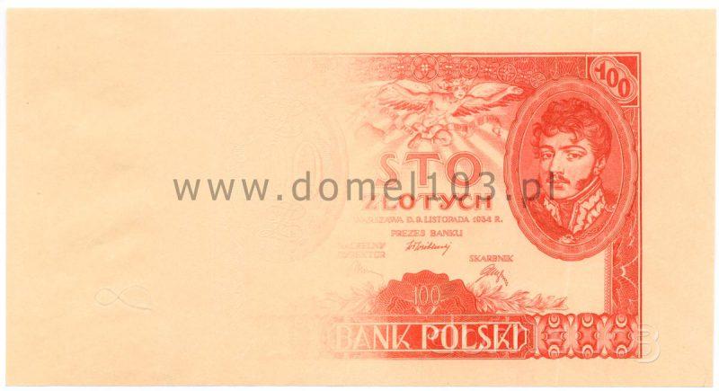 Próbna odbitka awersu banknotu 100 złotych 1932 w zanikającym kolorze czerwonym