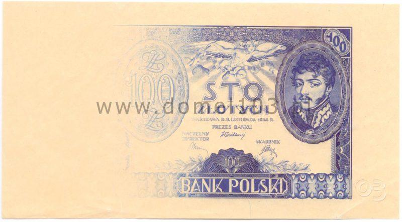 Próbna odbitka awersu banknotu 100 złotych 1932 w zanikającym kolorze fioletowym