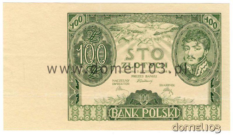 Próbna odbitka awersu banknotu 100 złotych 1932 w kolorze zielonym