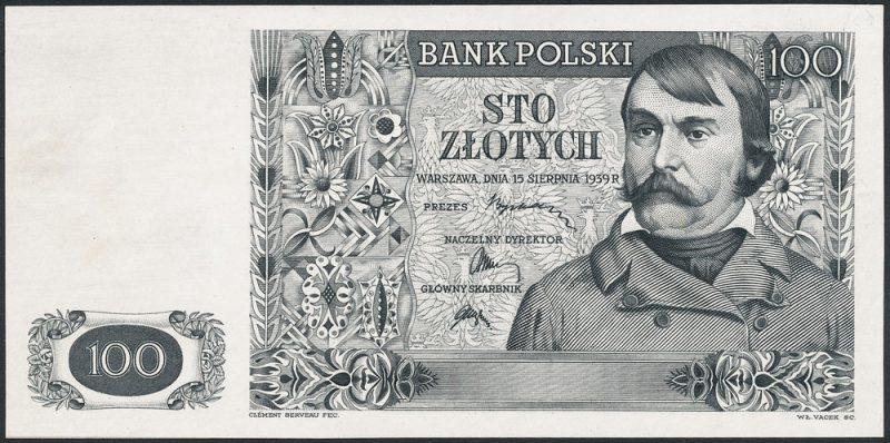Czarnodruk warstwy głównej awersu banknotu 100 złotych 1939