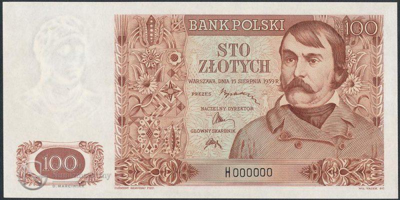 Wydruk awersu banknotu 100 złotych 1939 z numeracją zerową na papierze ze znakiem wodnym jak na 10 złotych