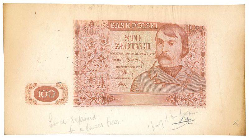 Wydruk próbny awersu banknotu 100 złotych 1939