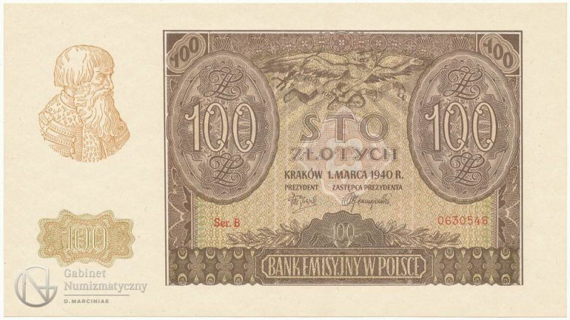 Falsyfikat ZWZ banknotu 100 złotych 1940