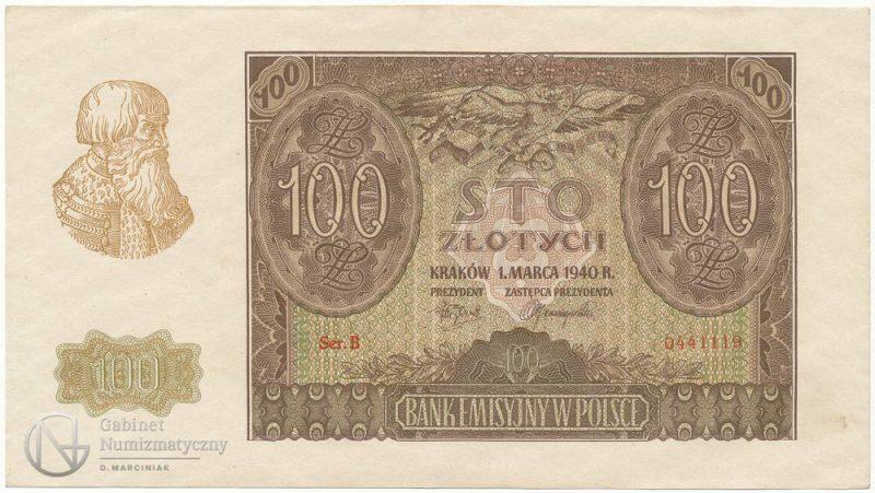 Oryginalny banknot 100 złotych 1940