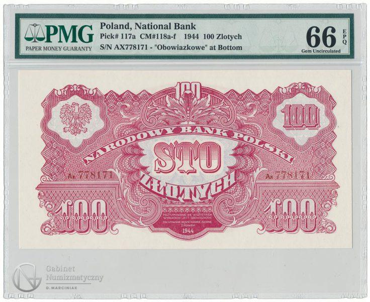 Awers banknotu 100 złotych 1944 obowiązkowe w ocenie PMG 66 EPQ