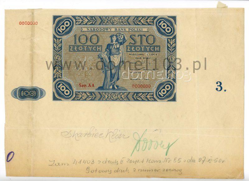 Banknot 100 złotych 1948 z niebieskim rysunkiem z roku 1947 i dwuliterową serią