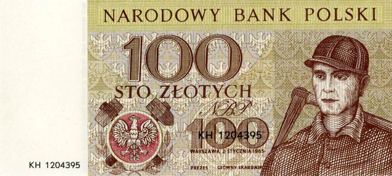 Awers banknotu 100 złotych 1965 z serii Miasta Polskie wersja 1