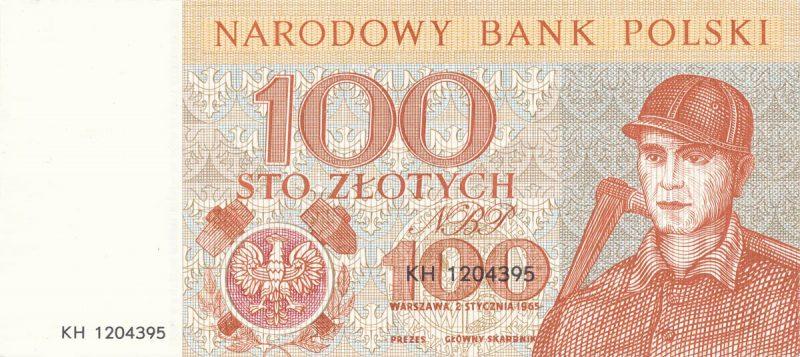 Awers banknotu 100 złotych 1965 z serii Miasta Polskie wersja 2