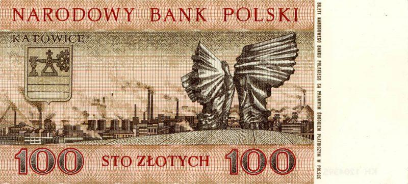 Rewers banknotu 100 złotych 1965 z serii Miasta Polskie wersja 1