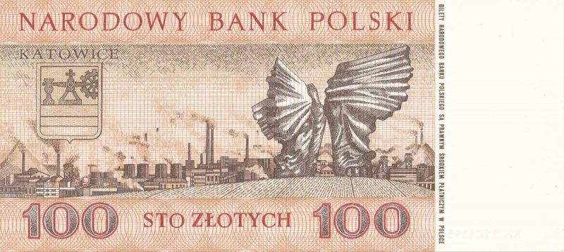 Rewers banknotu 100 złotych 1965 z serii Miasta Polskie wersja 2