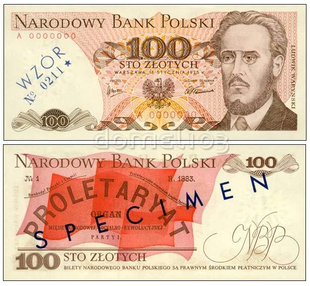 Wzór 100 złotych 1975 z Ludwikiem Waryńskim