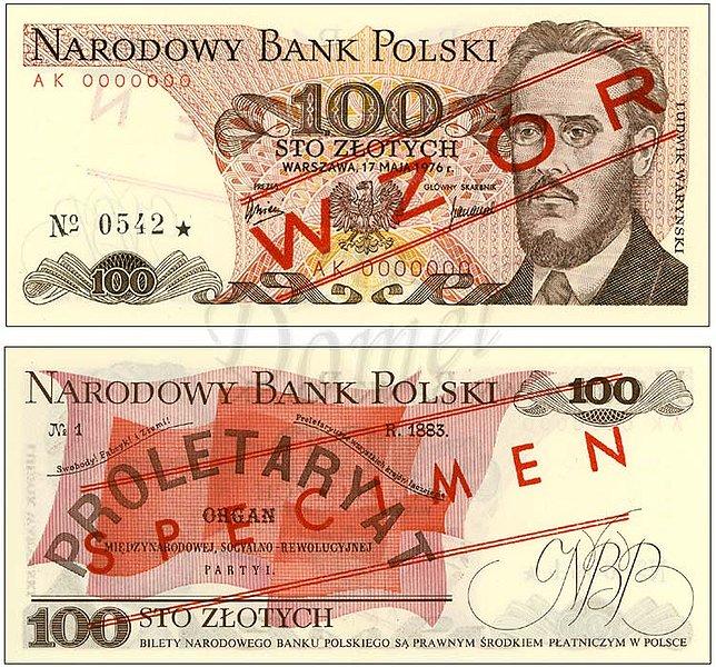 Wzór 100 złotych 1976 z Ludwikiem Waryńskim