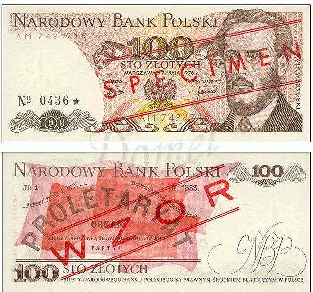 Wzór 100 złotych 1976 z Ludwikiem Waryńskim specimen na awersie