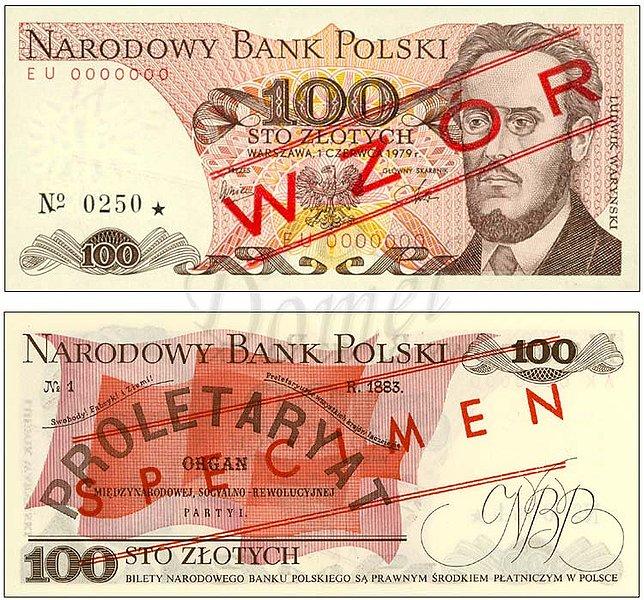 Wzór 100 złotych 1979 z Ludwikiem Waryńskim