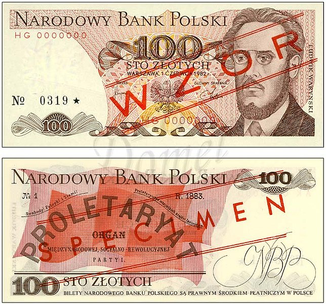 Wzór 100 złotych 1982 z Ludwikiem Waryńskim