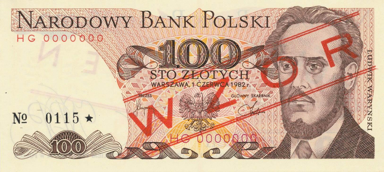 Awers wzoru 100 złotych 1982