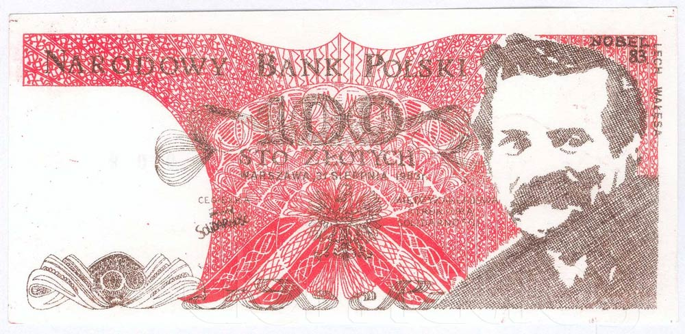 Awers 100 złotych 1983 z Lechem Wałęsą z dopiskiem Nobel 83